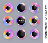 round iridescent buttons with... | Shutterstock .eps vector #644365594