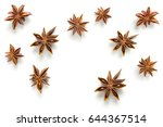 star anise  scattered in a... | Shutterstock . vector #644367514