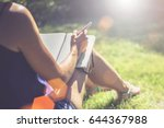 summer sunny day. back view.... | Shutterstock . vector #644367988