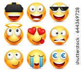 smiley set with 3d glasses... | Shutterstock .eps vector #644369728