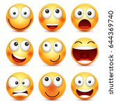 smiley set smiling emoticon.... | Shutterstock .eps vector #644369740