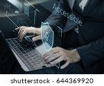 man working on laptop network... | Shutterstock . vector #644369920