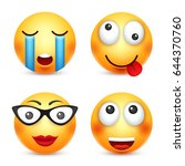 smiley smiling emoticon. yellow ... | Shutterstock .eps vector #644370760