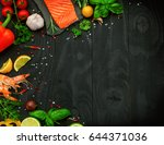 fresh salmon and shrimp with... | Shutterstock . vector #644371036