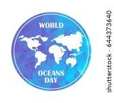 world oceans day concept... | Shutterstock .eps vector #644373640