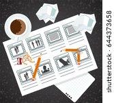 storyboarding process image.... | Shutterstock .eps vector #644373658