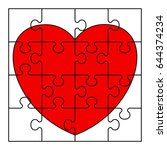 puzzle heart icon. flat vector... | Shutterstock .eps vector #644374234