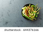 grilled chicken salad with... | Shutterstock . vector #644376166