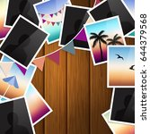 travel photo collage on wooden... | Shutterstock .eps vector #644379568