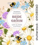 wedding invitation with meadow... | Shutterstock .eps vector #644380060