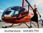 elegant business woman flying... | Shutterstock . vector #644381794