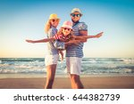 happy family on the beach.... | Shutterstock . vector #644382739