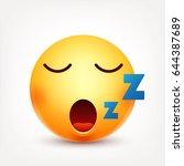 smiley sleep smiling emoticon.... | Shutterstock .eps vector #644387689