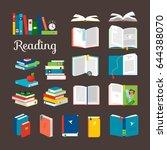 Reading Book Cartoon Icons Set...