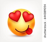 smiley with tongue and hearts... | Shutterstock .eps vector #644389054