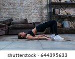sporty girl doing floor hip... | Shutterstock . vector #644395633