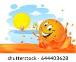 summer design with cute orange... | Shutterstock .eps vector #644403628