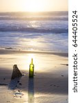Small photo of glass bottle Pollution of the beach during winter Hourtin, medoc gironde france
