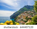 view of the town of positano... | Shutterstock . vector #644407120