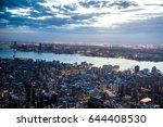 new york city sunset skyline... | Shutterstock . vector #644408530