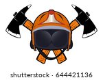 helmet with axes. protection of ... | Shutterstock .eps vector #644421136