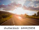panoramic view of empty asphalt ... | Shutterstock . vector #644425858