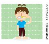 boy  blue shirt brushing teeth  ... | Shutterstock .eps vector #644428270