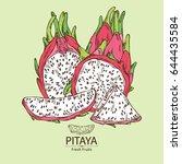 pitaya fruit  fruit and pitaya... | Shutterstock .eps vector #644435584