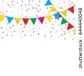 colorful confetti and flags on... | Shutterstock .eps vector #644440048