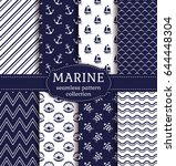 set of marine and nautical... | Shutterstock .eps vector #644448304