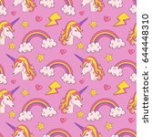dreamy pattern with unicorns... | Shutterstock .eps vector #644448310