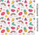 cute seamless pattern with... | Shutterstock .eps vector #644448316