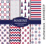 set of marine and nautical... | Shutterstock .eps vector #644448319