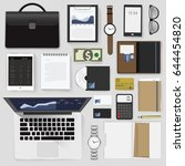 gadgets of business vector... | Shutterstock .eps vector #644454820