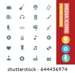 media icon set clean vector | Shutterstock .eps vector #644456974