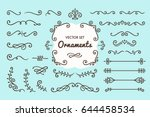 Set Collection of Vintage Ornament Elements on Blue Background | Shutterstock vector #644458534