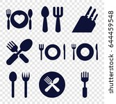 cutlery icons set. set of 9... | Shutterstock .eps vector #644459548