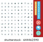 education icon set clean vector | Shutterstock .eps vector #644462590