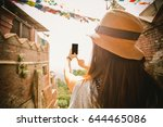 portrait of hipster girl selfie ... | Shutterstock . vector #644465086