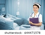 asian nurse with stethoscope on ... | Shutterstock . vector #644471578