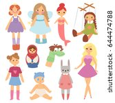 different dolls fashion young... | Shutterstock .eps vector #644474788