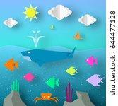 underwater paper word. undersea ... | Shutterstock .eps vector #644477128