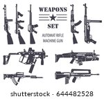 firearm set. automatic rifle ...   Shutterstock .eps vector #644482528