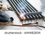industrial welder welding steel ... | Shutterstock . vector #644482834