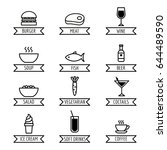 set of linear food and drink... | Shutterstock .eps vector #644489590