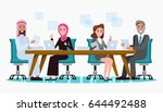 arabic and western business... | Shutterstock .eps vector #644492488