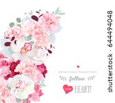 romantic floral crescent shape... | Shutterstock .eps vector #644494048