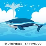 whale splashing water in the... | Shutterstock .eps vector #644495770