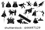 stickman superhero. cliparts... | Shutterstock . vector #644497129