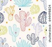 Cute Cactus. Vector Seamless...